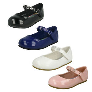 GIRLS SPOT ON PARTY CASUAL WEDDING DIAMANTE MARY JANE FLAT SHOES SIZE H2R487