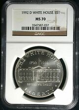 1992 D White House Commemorative Silver $1 MS 70 NGC