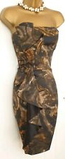 Stunning Karen Millen Black Gold Pencil Wiggle Occasion Waterfall dress UK 10