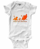 Infant Gerber Baby Onesies Bodysuit Simba Pumbaa Timon Hakuna Matata Silhouette