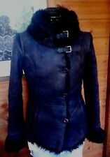 Toscana Shearling Purplish Blue Suede Leather Real Sheepskin Jacket Coat