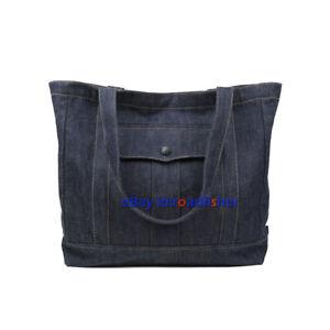 Men Women's Cotton 14OZ Denim Bag Shoulder Bag Retro Large Tote Heavyweight Bag