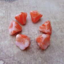 30 pcs Orange and White Glass Flower Beads floral beads