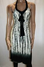MNG SUIT Brand Black Grey Stretch Ruched Halter A Line Dress Size M BNWT #SO40