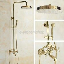 Luxury Gold Color Brass Wall Mounted Bathroom Rainfall Shower Faucet Set Bgf345