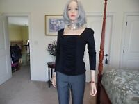 Cache Black Front Ruched Knit Top Size S