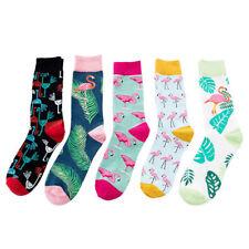 New Unisex Cotton Happy Socks Flamingo Plant Print Socks Novelty Couple Socks