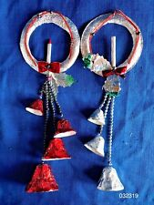 Vintage 1930s Foil paper cache Candle Wreath & Bells Dangler Ornament Pair