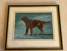 More details for antique irish setter watercolour dog painting 1926 framed signed