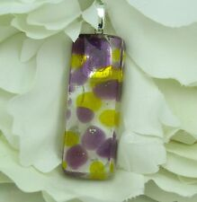 Fused glass pendant, purple, amber on clear, FREE neckcord,  p1292 MWeil
