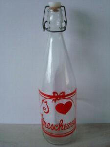"""Vintage Italian Glass Bottle - Swing / Flip Top - Clear, Red - 12"""" / 32cm - Mint"""