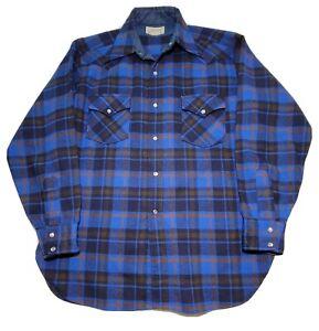 Vintage 70s Pendleton Western Wear Pearl Snap Wool Blue Flannel Mens L USA