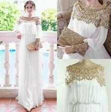 White Muslim Long Evening Dress Arabic Prom Gowns Wedding Bridesmaid Dresses