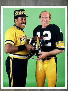 Willie Stagell Pittsburgh Pirates Terry Bradhaw Pittsburgh Steelers 8 X 10 Photo