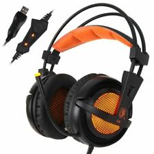 USB Gaming Headset Over-Ear Headphones Professional Stereo Sound Mic Computer