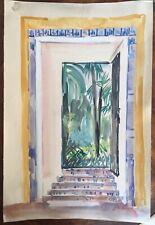 F485 Aquarelle Jardin Oriental Palmiers Jean Launois (1898-1942) Sables-d'Olonne