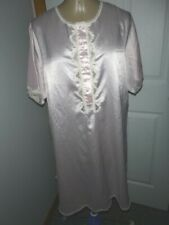 Vtg Barbizon Satiny Pink S/S Sleep Shirt Nightie Sz L White Lace Trim