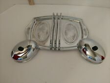 Forman Ware~4Man~Mini Chrome On Brass Serving Tray With glass dishes w/lids