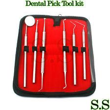 DentalDental Pick Tool Kit Dentist Professional 6pc Set Leather Storage Case New