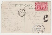 POSTAGE DUE 1911 POSTCARD, MAFEKING TOWN HALL, RHODESIA TO CORNWALL WITH TAX MK.