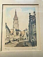 """Vintage Antique Watercolor Print """"Bruges"""" by Roger Hebbelinck 1930-40's RARE"""