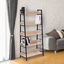 5-Tier Wood Bookcase Book Display Shelves Storage Organizer Home Furniture
