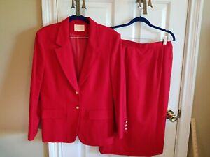 Pendleton Virgin Wool Skirt Suit Set Blazer Sz 8 Skirt Sz 8 Red Vintage 2 Piece