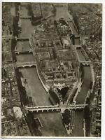 Paris : vue aérienne Ile de la Cité, Bains Samaritaine - Photo vintage 1935