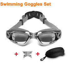 Goggles UV Fog Anti Swim Glasses+Nose Clips For Adult Men Women Sports Gray US