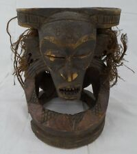 Vintage Hand Carved Wood African Mask, Head, Art Hanging Tribal w/Copper Inlay
