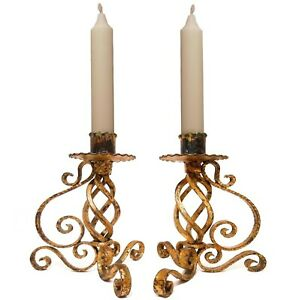 MID-20TH C HOLLYWOOD REGENCY ITALY VINT PAIR ORNATE GILT CURLY IRON CANDLESTICKS