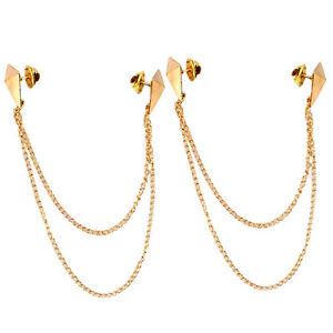 2pcs Gold Tone Decor Chain Necklace Clip Clip Brooch Pendant Necklace
