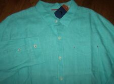 NWT Tommy Bahama $118 SEA GLASS BREEZER Lawn Chair AQUA LINEN Shirt Men 3XT TALL