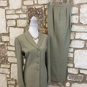 Le Suit Women's 2Pc Pant Suit Green Pistachio Color Sz 14 & 16