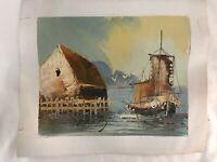 Mid Century Impressionist Original Art Oil Painting Coastal Signed TAMMY Vtg