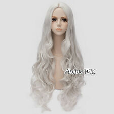80CM Lolita Basic Silver White Hair Women Long Curly Cosplay Wig Heat Resistant