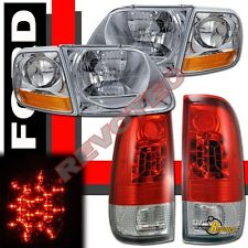 97-03 Ford F150 Pickup Headlights Corner Signal + Red LED Tail Lights Set