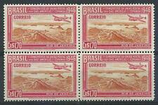 Brazil 1946 Sc# 648 Postal Union Congress US Spain Plane $1.70 block 4 MNH