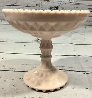Vintage Pink Pastel Milk Glass Jeanette Windsor Shell Compote Candy Dish