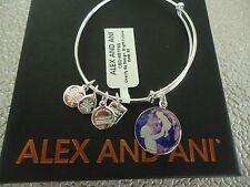 Alex and Ani BRIGHT FUTURE UNICEF Shiny Silver Bangle New W/ Tag Card & Box
