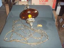 Vintage Hanging Amber Glass Globe Lamp Swag Light - Mid Century - Modern Decor