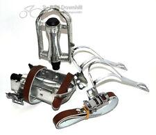 Retro Vintage Rennradpedal Fixie Hakenpedale inkl.Haken + Leder Riemen