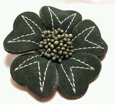 Leather flower brooch,  green with white strich, printed paper pollen, handmade