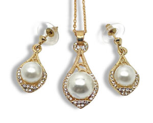 Yellow gold finish Pearl And Created diamond  Pear Design Dangle Necklace