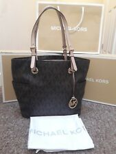 b3942d96b56643 Michael Kors Jet Set Monogram Tote Bag Genuine Mk Logo Print Brown Signature
