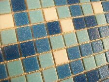 SMALL SAMPLE OF VITREOUS GLASS MOSAIC TILES BLUE MIX (16 MOSAIC PIECES)