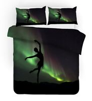 Gift Northern Light Aurora Ballet Dancer Boat Bedding Duvet Quilt Cover Set
