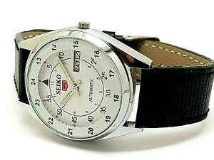 seiko 5 automatic men's steel white dial day/date japan watch run order