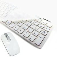 Ultra thin White 2.4G Cordless Keyboard and optical Mouse for PC Computer Combo