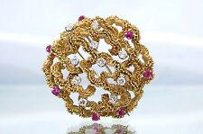 Estate 18k Gold Ruby & Diamond Fur Clip/Brooch 1.85TCW 32.3g Vintage-Modern TLI